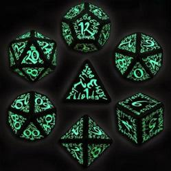 Exotic Dice Sets: Black & Glow-in-the-Dark Steampunk Dice Set (7)