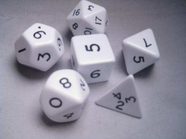 Jumbo RPG Dice Sets: White/Black Opaque Polyhedral 6-Die Set