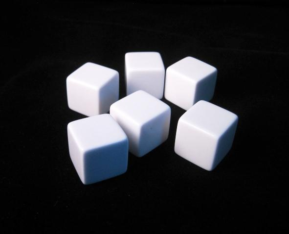 Blank Dice: 19mm White D6 Set with Stickers (6)