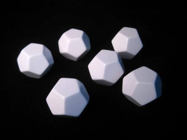 Blank Dice: 25mm White D12 Set with Stickers (6)