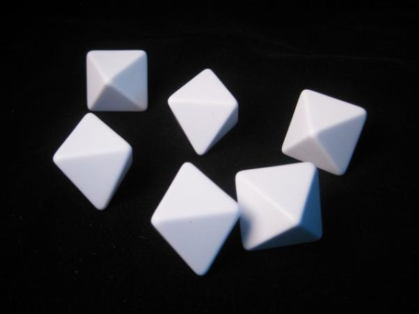 Blank Dice: 25mm White D8 Set with Stickers(6)