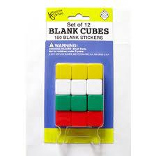 Blank Dice: Blank Cubes with 150 Blank Stickers (12 Dice)