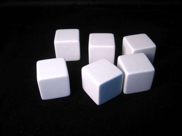 Blank Dice: 25mm White D6 Set with Stickers(6)
