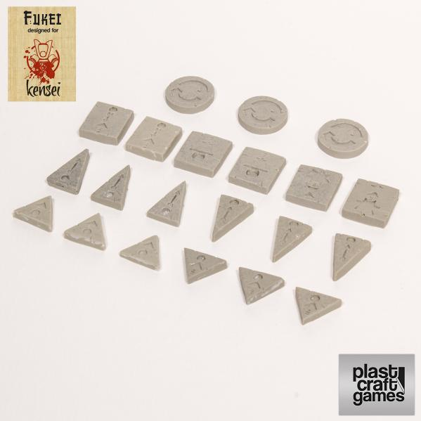 28mm Kensei Terrain: Combat Actions Markers (Grey)