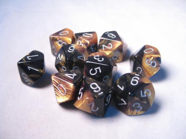 Chessex Dice Sets: Gemini #6 d10 Black-Gold/Silver (10)
