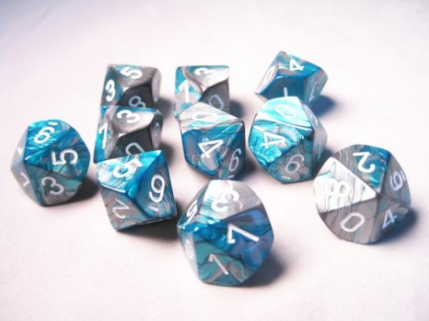Chessex Dice Sets: Gemini #6 d10 Steel-Teal/White (10)