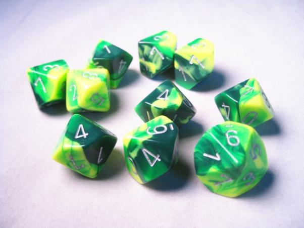 Chessex Dice Sets: Gemini #6 d10 Green-Yellow/Silver (10)