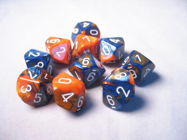 Chessex Dice Sets: Gemini #6 d10 Blue-Orange/White (10)