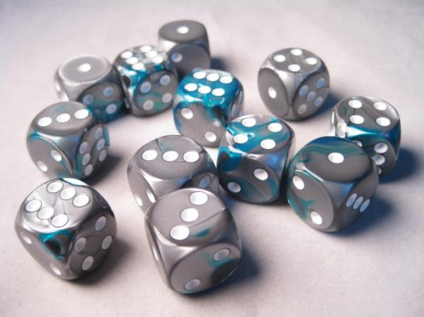 Chessex Dice Sets: Gemini # 6 16mm d6 Steel-Teal/White (12)