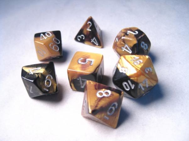 Chessex RPG Dice Sets: Gemini # 6 Black-Gold/Silver Polyhedral 7-Die Set