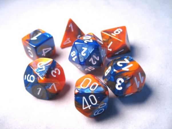 Chessex RPG Dice Sets: Gemini # 6 Blue-Orange/White Polyhedral 7-Die Set