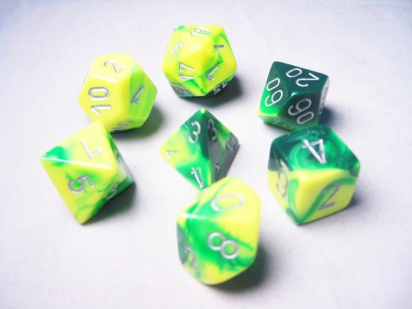 Chessex RPG Dice Sets: Gemini # 6 Green-Yellow/Silver Polyhedral 7-Die Set