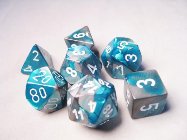 Chessex RPG Dice Sets: Gemini # 6 Steel-Teal/White Polyhedral 7-Die Set