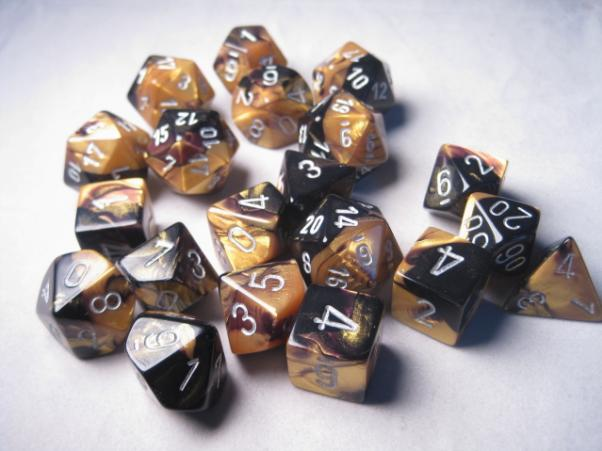 Chessex Bulk Dice Sets: Gemini #6 Black-Gold/Silver Bags of 20