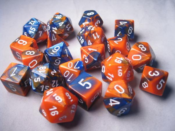 Chessex Bulk Dice Sets: Gemini #6 Blue-Orange/White Bags of 20