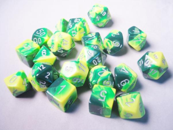 Chessex Bulk Dice Sets: Gemini #6 Green-Yellow/Silver Bags of 20