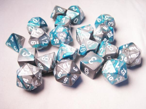 Chessex Bulk Dice Sets: Gemini #6 Steel-Teal/White Bags of 20
