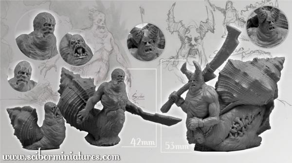 28mm Fantasy Miniatures: Snail Monsters set