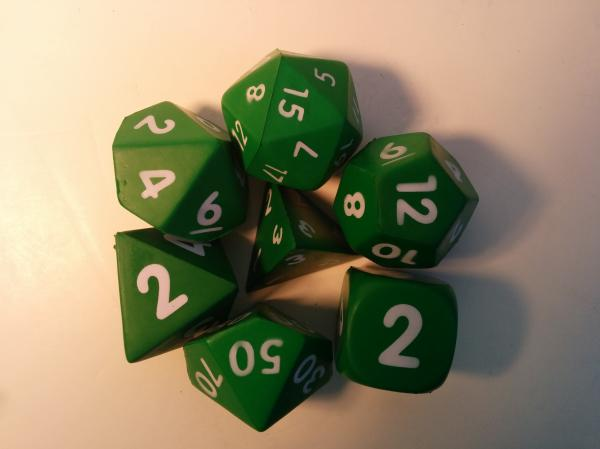 Game Accessories: Squishy Polyhedral 7-Die Set (Green)