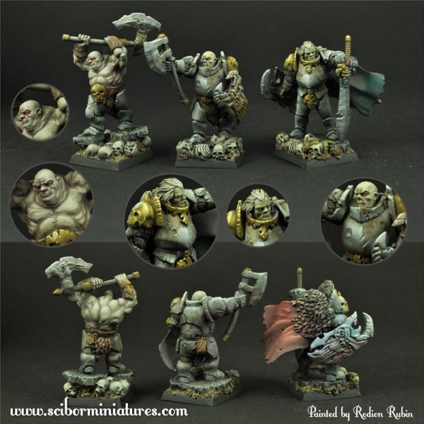 28mm Fantasy Miniatures: 28mm/30mm Barbarian Veterans set (3)