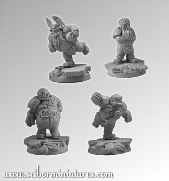28mm Fantasy Football: 28mm/30mm Dwarves Players Set #1 (4)