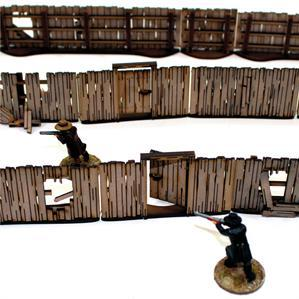 28mm Dead Mans Hand: Add-on Yard Panel Fencing (with gates)