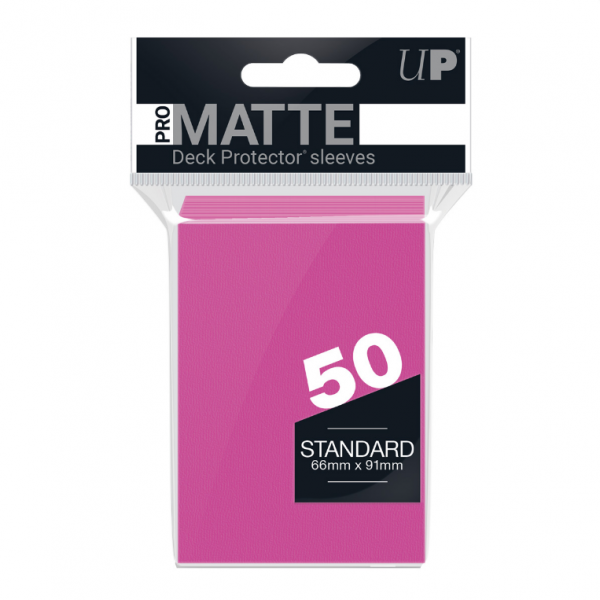 PRO-Matte 50ct Standard Deck Protector sleeves: Bright Pink