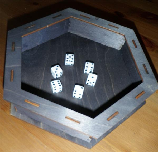 Hex Dice Tray, Walnut (Wood Dice Tray)