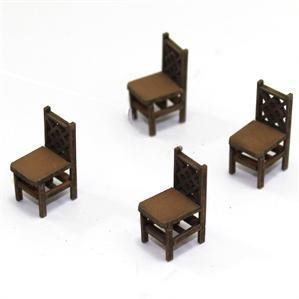 28mm Furniture: Light Wood Square Back Chair (A)
