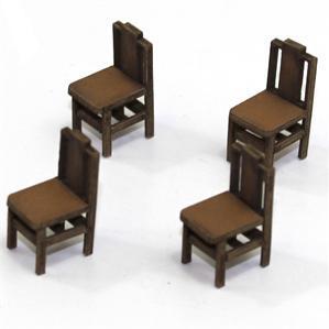 28mm Furniture: Light Wood Square Back Chair (B)