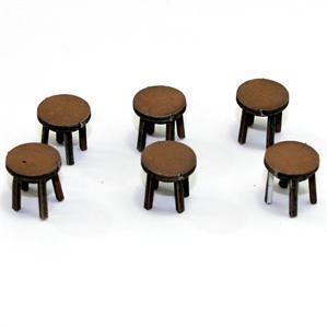28mm Furniture: Light Wood Stool (A)