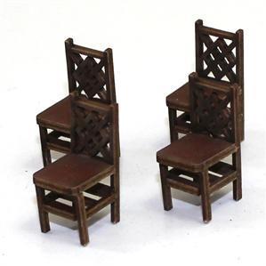 28mm Furniture: Medium Wood Square Back Chair (A)