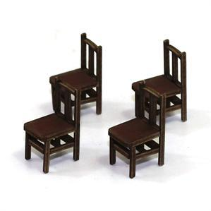 28mm Furniture: Medium Wood Banister Back Chair (B)