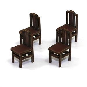 28mm Furniture: Medium Wood Square Back Chair (B)