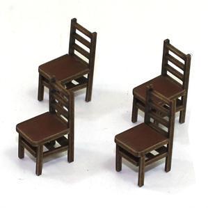 28mm Furniture: Medium Wood Ladder Back Chair (B)