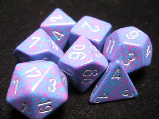 Chessex RPG Dice Sets: Silver Tetra Speckled Polyhedral 7-Die Set
