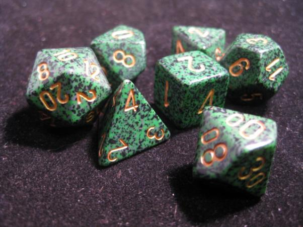 Chessex RPG Dice Sets: Golden Recon Speckled Polyhedral 7-Die Set
