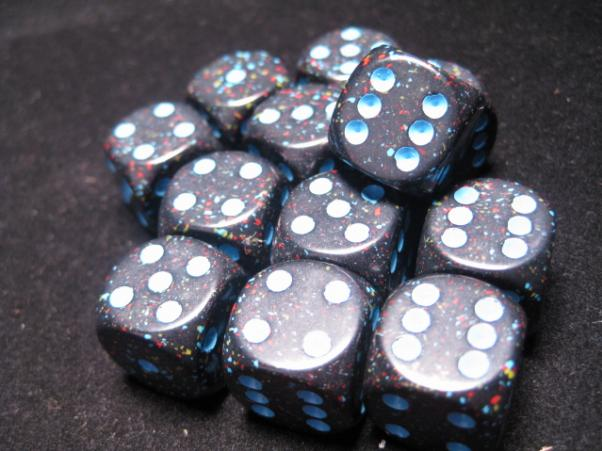 Chessex Dice Sets: Blue Stars Speckled 16mm d6 (12)