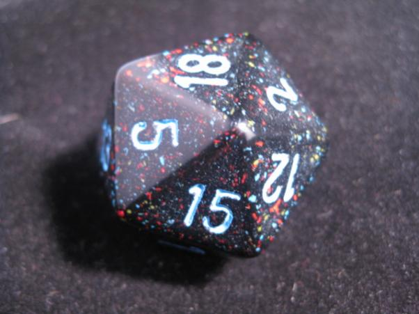 Chessex Special Dice: Black/Blue Blue Stars Speckled 34mm d20