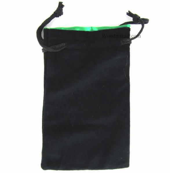 Black Velvet Dice Bag w/ Green Satin Lining (Large)