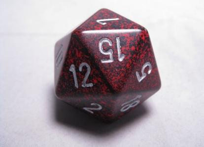 Chessex Special Dice: Silver Volcano Speckled 34mm d20
