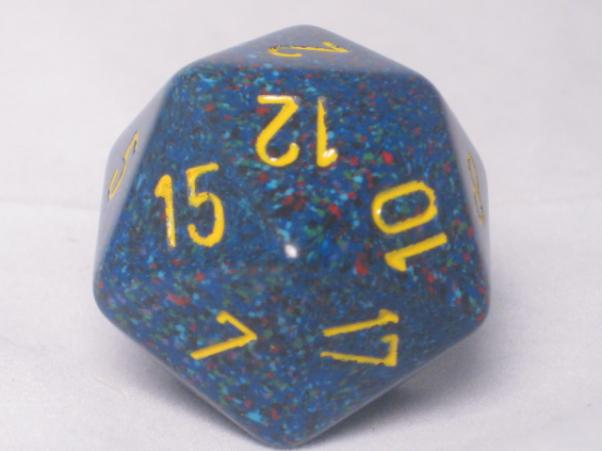 Chessex Special Dice: Blue/Yellow Twilight Speckled 34mm d20