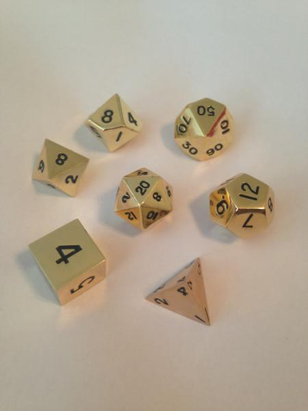 Metallic Dice: Gold Color Solid Metal Polyhedral 7-Die Set