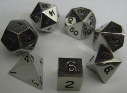 Metallic Dice: Silver Color Solid Metal Polyhedral 7-Die Set