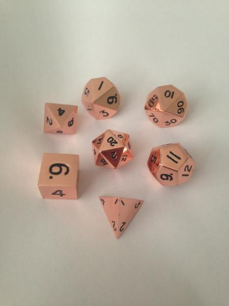 Metallic Dice: Copper Color Solid Metal Polyhedral 7-Die Set