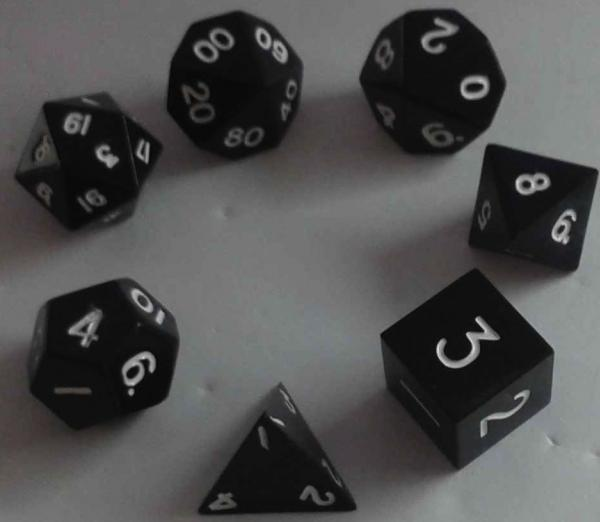 Metallic Dice: Black Color Solid Metal Polyhedral 7-Die Set