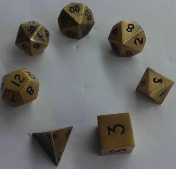 Metallic Dice: Antique Gold Color Solid Metal Polyhedral 7-Die Set