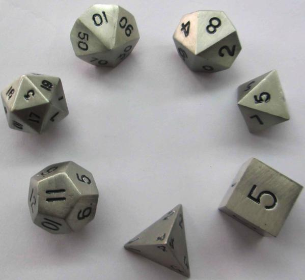 Metallic Dice: Antique Silver Color Solid Metal Polyhedral 7-Die Set