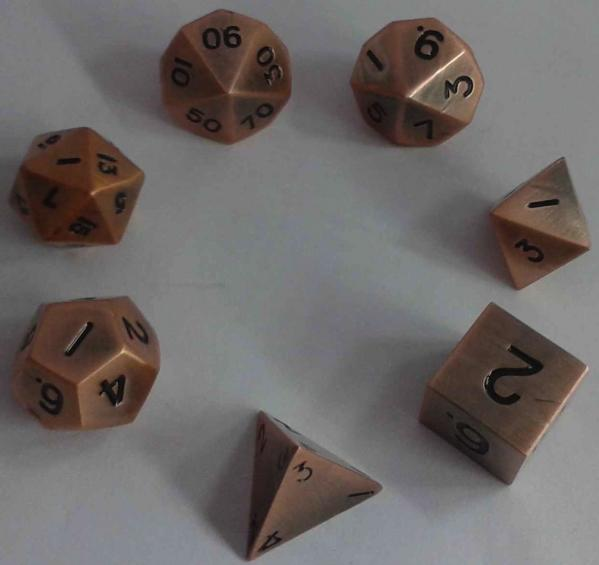 Metallic Dice: Antique Copper Color Solid Metal Polyhedral 7-Die Set